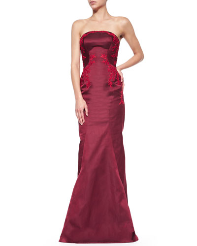 Embroidered Silk Strapless Gown