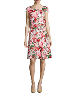 Bouquet-Print A-Line Dress