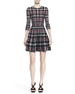 Three-Quarter-Sleeve Plaid Fit-And-Flare Dress