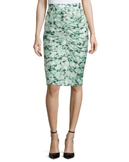 Ikat-Print Center-Ruched Skirt