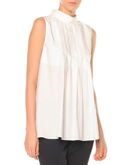 Knife-Pleated Button-Back Blouse