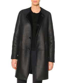 Reversible Shearling Fur Mid-Length Coat