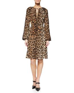 Sasa Leopard-Print Peasant Dress