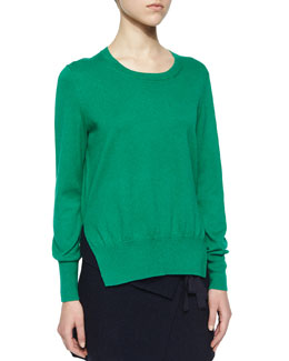 Kerstin Split-Side Cotton/Wool Sweater