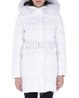 Fur-Trimmed Mid-Length Ski Puffer Jacket