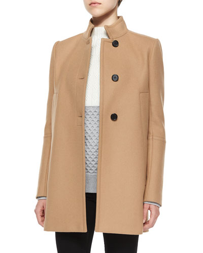 Stand-Collar 3-Button Swing Coat, Camel