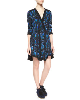 Long-Sleeve Faux-Wrap Printed Dress