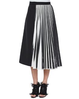 Half Knife-Pleated Midi Skirt