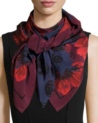 Floral & Skull-Print Silk Pashmina