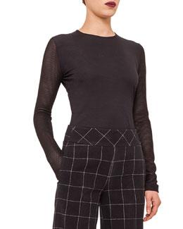 Contrast Net-Sleeve Jersey Top