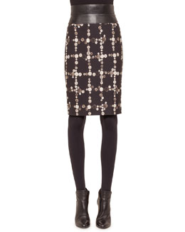 Faux-Leather High-Waisted Button-Print Pencil Skirt