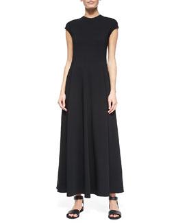 Cap-Sleeve Cady Gown