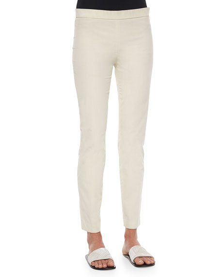 Stretch-Corduroy Cropped Leggings, Natural