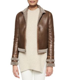 Stand-Collar Shearling Fur Zip Jacket