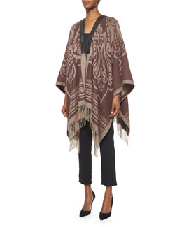 Paisley-Print Cashmere Leather-Trimmed Poncho