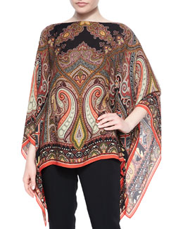 Paisley Silk Poncho, Orange Multi