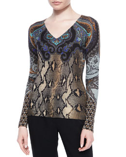 Python and Paisley Printed Sweater