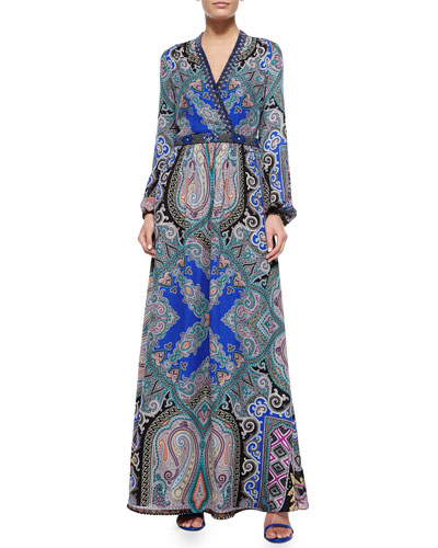 Silk Geo/Paisley-Print Maxi Dress