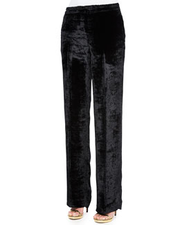 Sheared Velvet Straight-Leg Pants