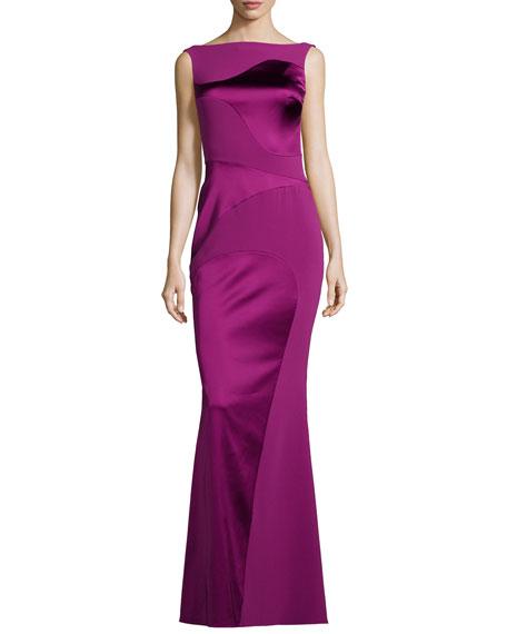 Hoshiko Satin & Crepe Wavy Paneled Gown