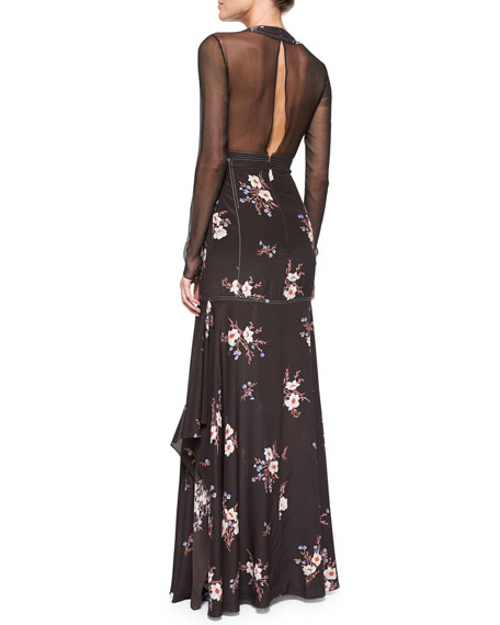 Floral-Print Long-Sleeve Slit-Back Gown