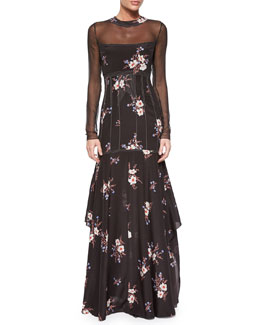 Floral-Print Long-Sleeve Slit-Back Gown