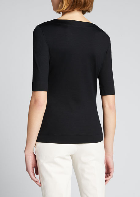 Square-Neck Knit Tee, Black