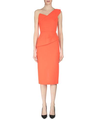Keiko One-Shoulder Wool Crepe Top, Bright Orange