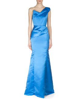 One-Shoulder Satin Faille Gown, Blue