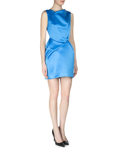Zonda Satin Faille Fold-Pleated Sheath Dress