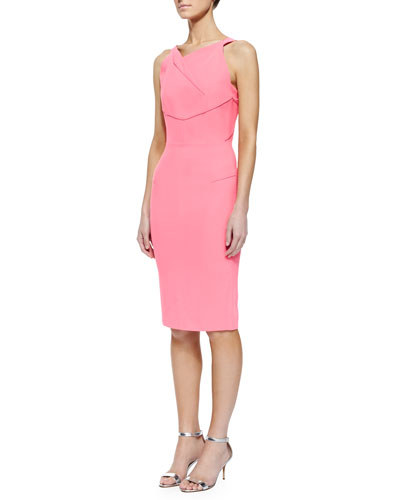 Gabelle Fold-Pleated Cutout Sheath Dress