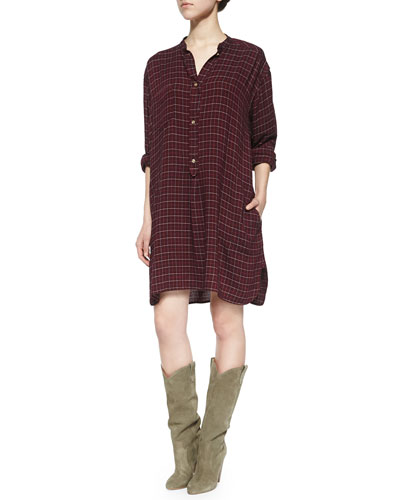 Peneloppe Long-Sleeve Henley Dress, Burgundy