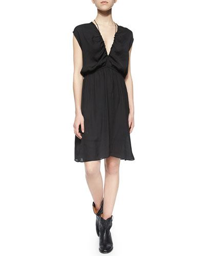 Blaze Cap-Sleeve Deep-V Dress