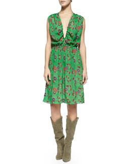 Slaze Floral-Print Strappy Dress