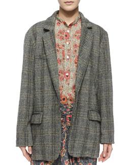 Charly Oversize Herringbone Jacket, Black/Ecru