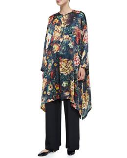 Floral-Print Silk Long Poncho