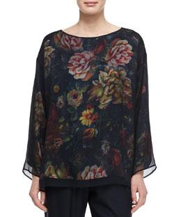 Chiffon Layered Floral-Print Top