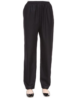 Mid-Rise Tapered-Leg Trousers, Black