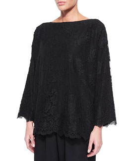 Bateau-Neck Floral-Lace Tunic, Black