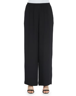 Wide-Leg Flared Trousers, Black