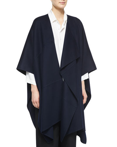 Asymmetric Sleeveless Cashmere Jacket, Navy