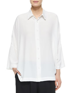Sloped-Shoulder Button-Front Shirt, White