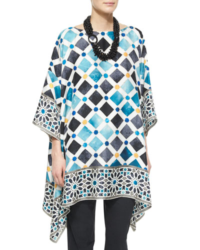 Bateau-Neck Printed Kaftan Dress, White Multi