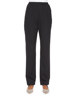 Mid-Rise Narrow-Leg Trousers, Black