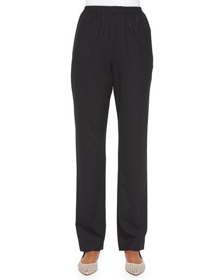Mid-Rise Narrow-Leg Trousers, Black