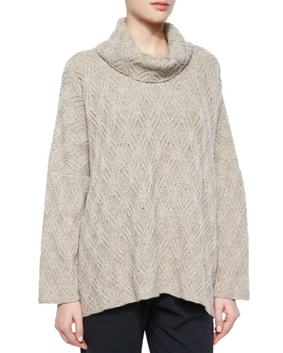 Diamond-Knit Cashmere-Blend Turtleneck Sweater