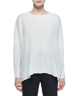Slim-Sleeve Cashmere Knit Top