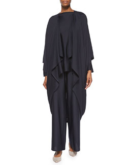 Open-Front Draped Cocoon Coat, Navy