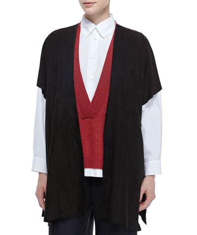 Raw-Edge Long Suede Tabard