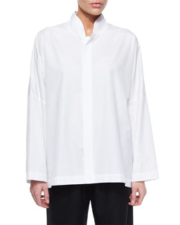 Sloped-Shoulder Poplin Blouse
